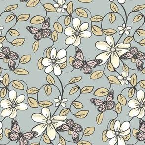 "Floral ""Flowers & Flutters"" / Vines & Butterflies  2 Grey,Camel,Blush"
