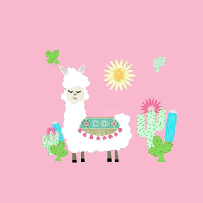 sweet white llama sun and cactus - pink LG 19
