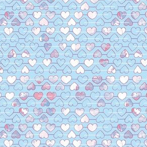 Soft blue and white hearts with texture mini-ch