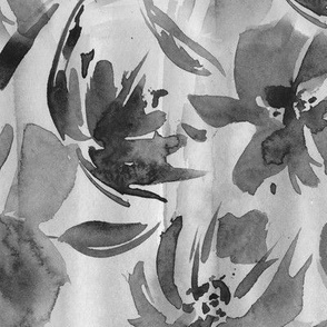 Queen's garden in noir • watercolor florals in shades of grey