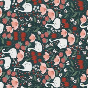 Tulip Swans Garden Tea Towel
