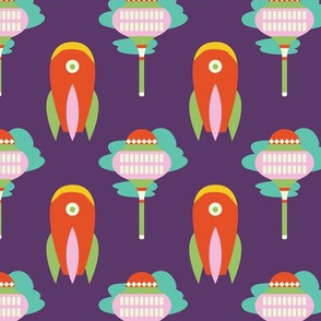 Folk art rocket and floating city | purple