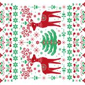 christmas folk art tea towel