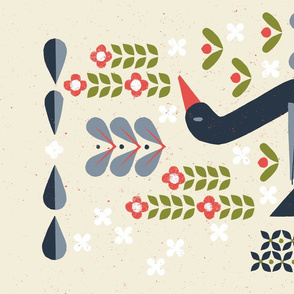 Mod Papercut Folk Scandinavian Goose M+M Vanilla by Friztin