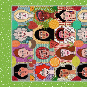 The Colors of Women (green tea towel)