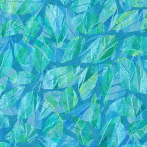 Tropical Abstract Leaves Kauai Teal 300