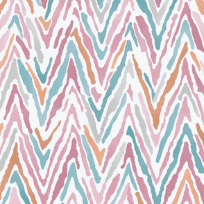 Pink Blue and Orange Watercolor Chevron