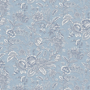 Dusty Blue and White  Vintage Floral