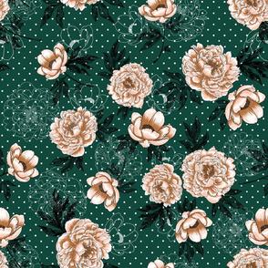 "Helen's Vintage Peonies (forest green) 18"""