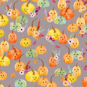 cute pumpkins grey