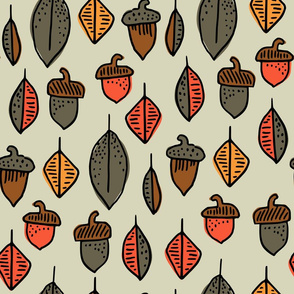 Leaves and Acorns Green