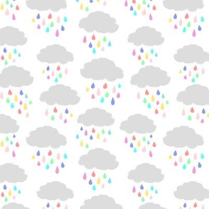 Clouds and colorful raindrops