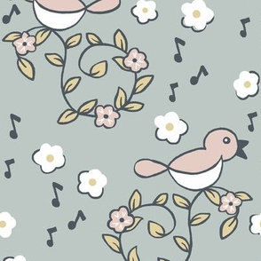 Summer Song / Birds Flowers Pink Grey