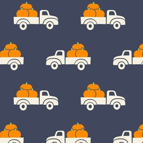 fall trucks - pumpkin - cream on adventure blue - LAD19
