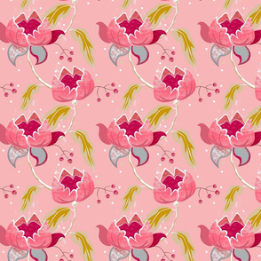 Vintage Floral on pink small