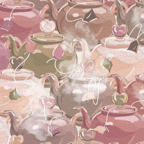 Tea Love  | Large | Lt Muted Pink + Green Earth