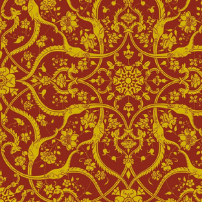 Red and Gold Floral Animals