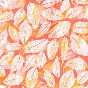Tropical Abstract Leaves Papaya 300