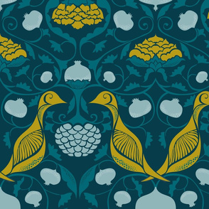 Partridges and Pomegranates {Teal/Citrine PMS457}