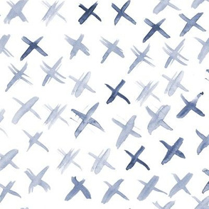 Indigo watercolor crosses • brush stroke minimal modern pattern
