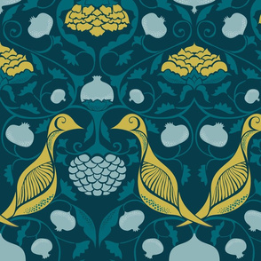 Partridges and Pomegranates {Teal/Citrine PMS7751}