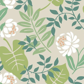 Leafy Floral Beige