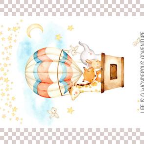 "54""x36"" Panel – Hot Air Balloons Baby Blanket, Nursery Bedding, Minky size"