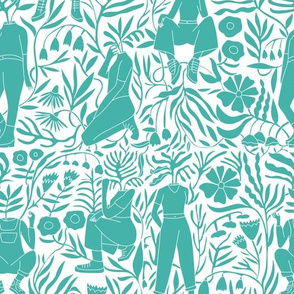 plant lady fabric - plant mom,  plants wallpaper, plant wallpaper, lush tropical wallpaper, tropical fabric, ferns, cool trendy wallpaper, - turquoise