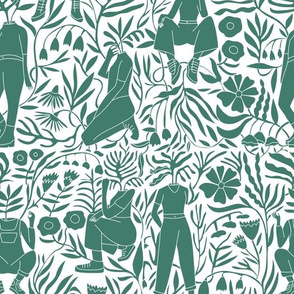 plant lady fabric - plant mom,  plants wallpaper, plant wallpaper, lush tropical wallpaper, tropical fabric, ferns, cool trendy wallpaper, - greener
