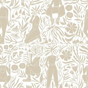 plant lady fabric - plant mom,  plants wallpaper, plant wallpaper, lush tropical wallpaper, tropical fabric, ferns, cool trendy wallpaper, - taupe