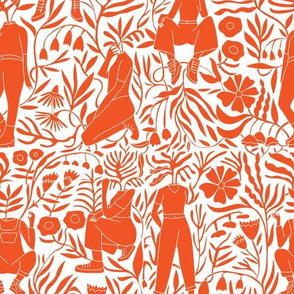 plant lady fabric - plant mom,  plants wallpaper, plant wallpaper, lush tropical wallpaper, tropical fabric, ferns, cool trendy wallpaper, - orange