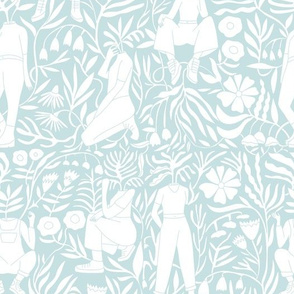 plant lady fabric - plant mom,  plants wallpaper, plant wallpaper, lush tropical wallpaper, tropical fabric, ferns, cool trendy wallpaper, - pale blue