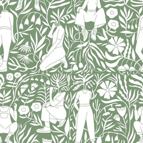 plant lady fabric - plant mom,  plants wallpaper, plant wallpaper, lush tropical wallpaper, tropical fabric, ferns, cool trendy wallpaper, - green
