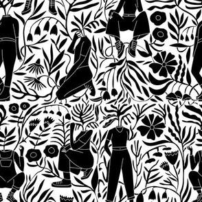 plant lady fabric - plant mom,  plants wallpaper, plant wallpaper, lush tropical wallpaper, tropical fabric, ferns, cool trendy wallpaper, - bw