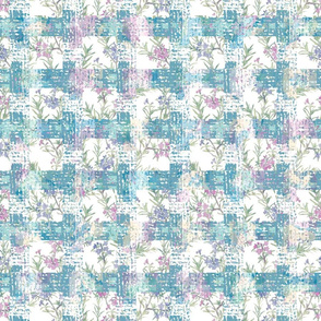 Blue and Lilac Floral Plaid