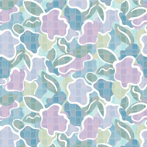 Lilac and Aqua Abstract Floral Illustration
