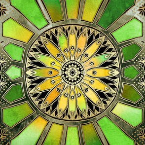 Stained Glass in Green and Gold - customer request