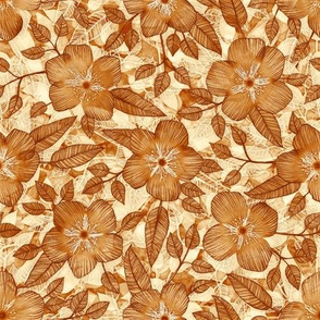 Autumn Floral in Brown, Tan and Cream Linework