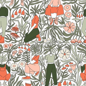plant lady fabric - plant mom,  plants wallpaper, plant wallpaper, lush tropical wallpaper, tropical fabric, ferns, cool trendy wallpaper, - peach