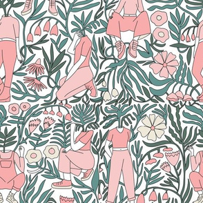 plant lady fabric - plant mom,  plants wallpaper, plant wallpaper, lush tropical wallpaper, tropical fabric, ferns, cool trendy wallpaper, - pink white