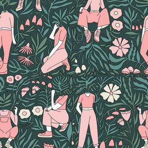 plant lady fabric - plant mom,  plants wallpaper, plant wallpaper, lush tropical wallpaper, tropical fabric, ferns, cool trendy wallpaper, - pink