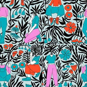 plant lady fabric - plant mom,  plants wallpaper, plant wallpaper, lush tropical wallpaper, tropical fabric, ferns, cool trendy wallpaper, - brights