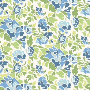 Blue and Green Floral Illustration