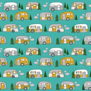 SMALL - vintage camper // retro camper van flamingo retro vintage florida life cute summer camping design andrea lauren fabric