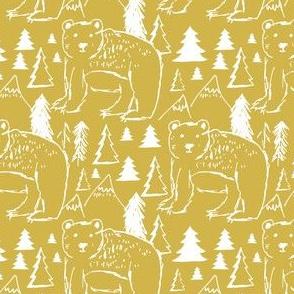 """4"""" Baby Bear Sketch Mustard"""