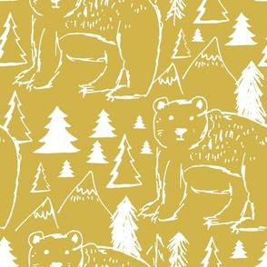"""8"""" Baby Bear Sketch Mustard"""