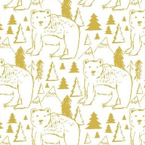 "4"" Baby Bear Sketch White and Mustard"