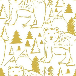 "8"" Baby Bear Sketch White and Mustard"