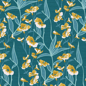 Teal and Gold Floral Vine Illustration
