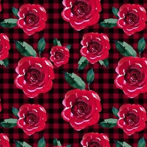 "4"" Red Roses with Black and Red Gingham"